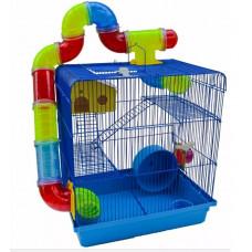 Gaiola Hamster Labirinto Com Tubos 3 Andares Azul Super