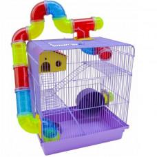 Gaiola Hamster Labirinto Com Tubos 3 Andares Roxa Super Luxo