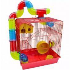 Gaiola Hamster Labirinto Com Tubos 3 Andares Vermelha Super Luxo