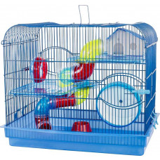 Gaiola Hamster Labirinto C/ Tubos 3 Andares Prime Azul