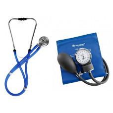 Kit Estetoscópio Rappaport + Esfigmomanômetro Incoterm Azul