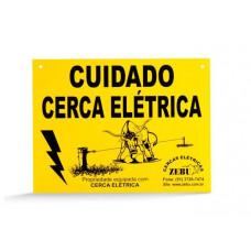 """Placa """"Cuidado Cerca Elétrica"""" Zebu"""